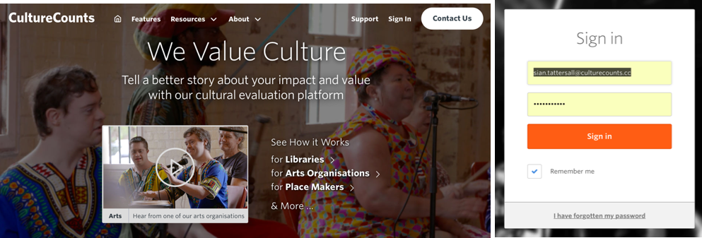 Culture Counts Sign in page