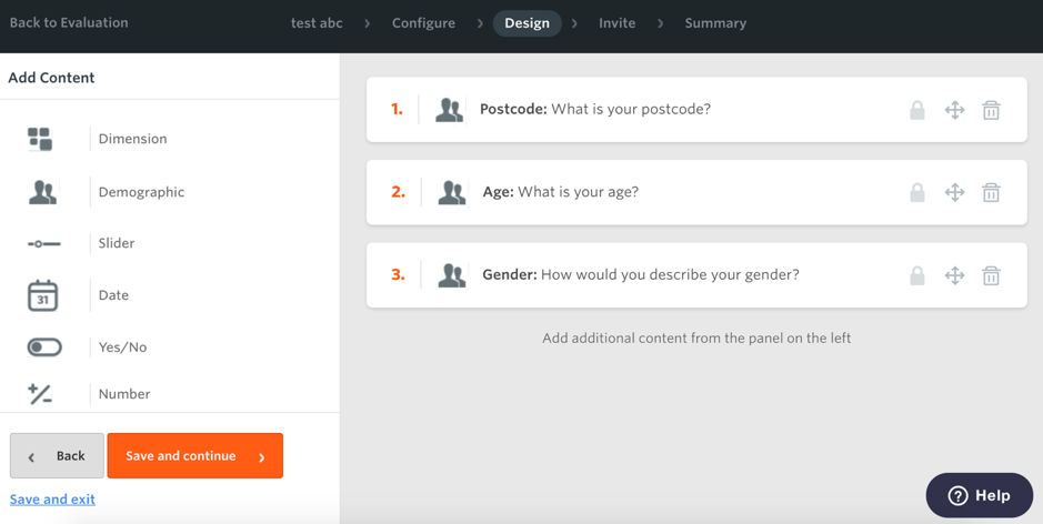 Survey design page on Culture Counts