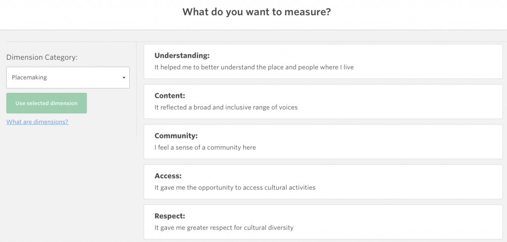 Screenshot of Placemaking dimension category on Culture Counts
